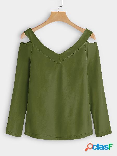Exército verde cortar design liso com decote em v mangas compridas t-shirts