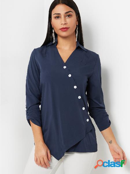 Blue oblique button design liso com decote em v mangas compridas blusas
