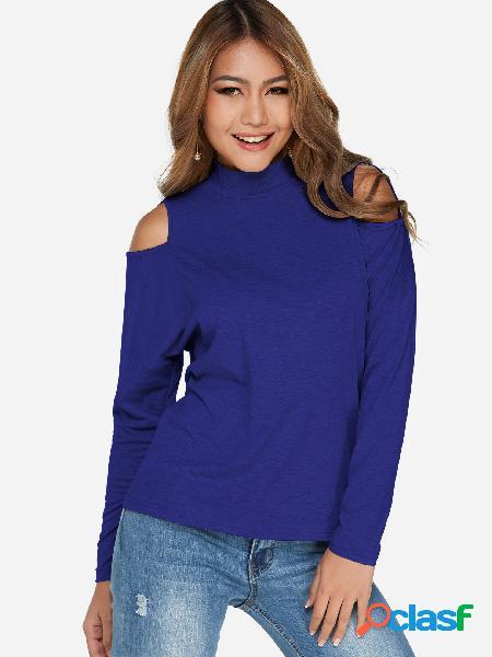 Blue cut out plain perkins collar mangas compridas blusas