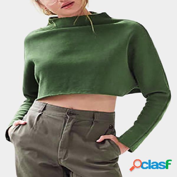 Camisola de manga comprida com mangas compridas de manga comprida
