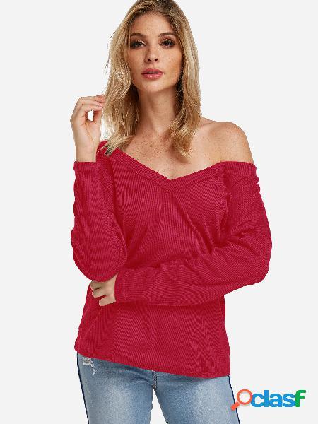 Design de um ombro vermelho profundo decote em v mangas compridas blusas