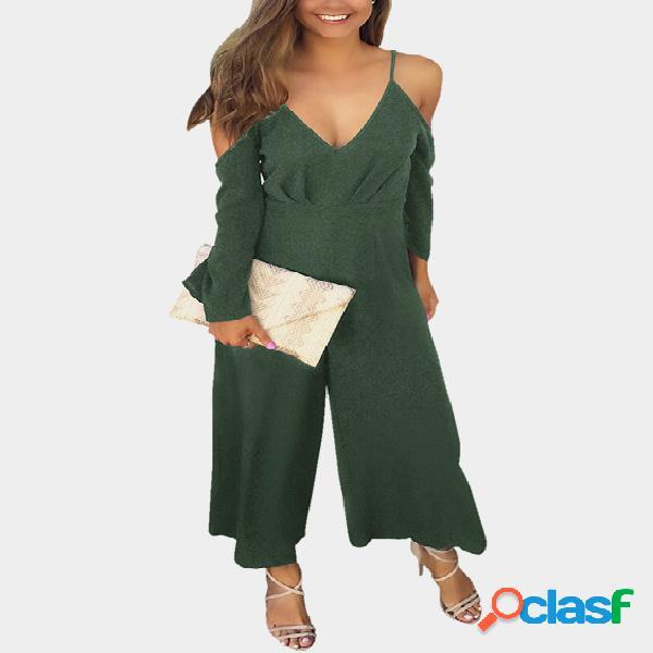 Army green deep v-neck cold shoulder flared sleeves high waist jumpsuit