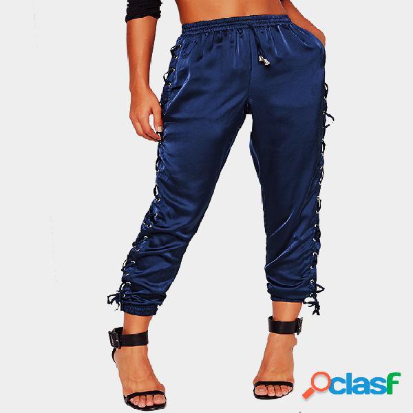 Blue satin lace up side jogger com cinta de drawstring