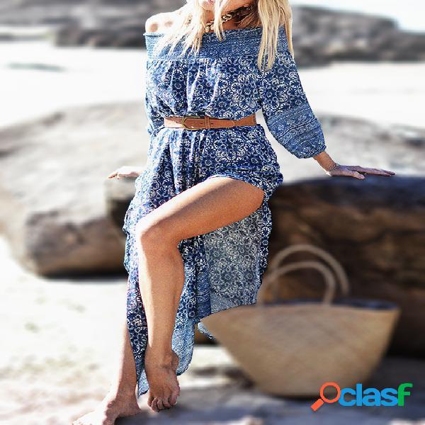 Blue off-the-shoulder floral print slit hem maxi dress