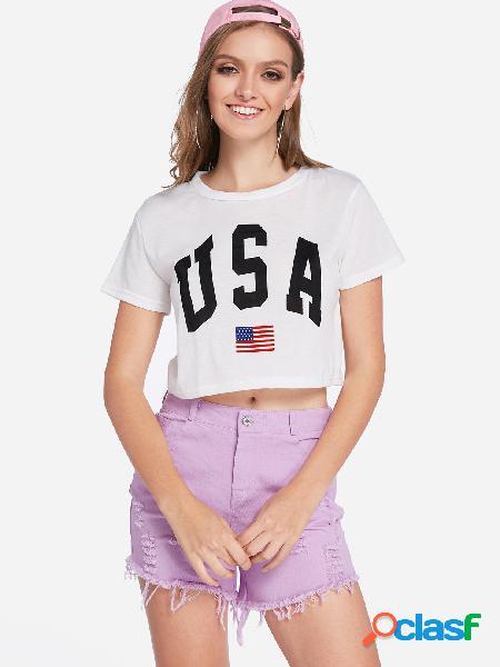 Carta branca em volta da colheita do pescoço camiseta