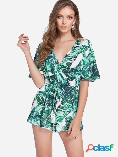 Traje de mangas curtas de manga curta com decote em v floral frente aleatório verde