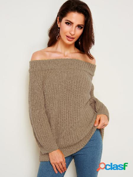 Khaki plain off the shoulder knitting jumpers