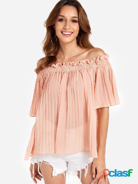 Design plissado rosa plain fora as blusas de mangas metade do ombro