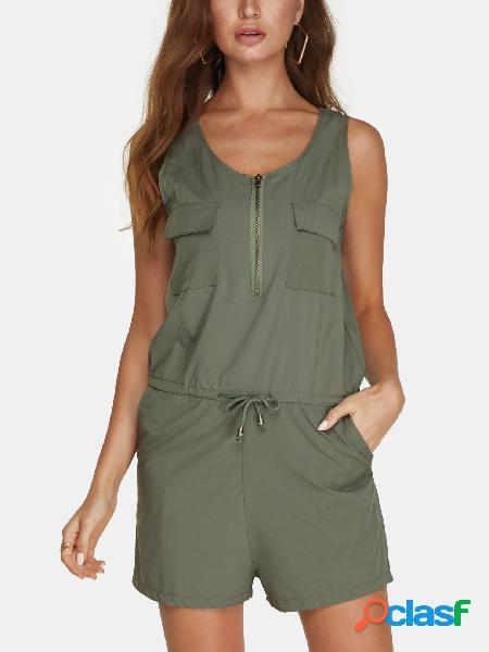 Projeto zip verde do exército com decote em v sem mangas drawstring cintura playsuit