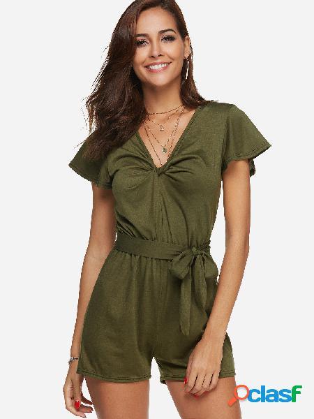 Verde cruzado design frontal decote em v mangas curtas drawstring cintura playsuits
