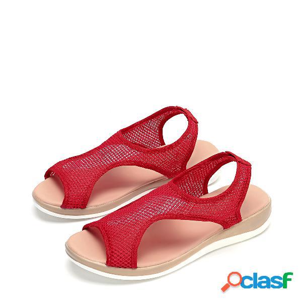 Sandálias flat red mesh hollow design