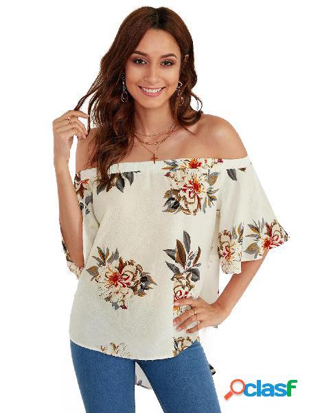 Impressão floral branco fora do ombro blusa de mangas curtas