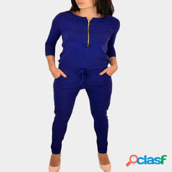 Blue zipper 3/4 length sleeves drawstring waist jumpsuit
