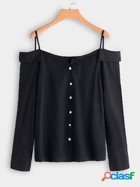 Pescoço de babado de ombro preto pescoço único breasted design manga comprida blusas