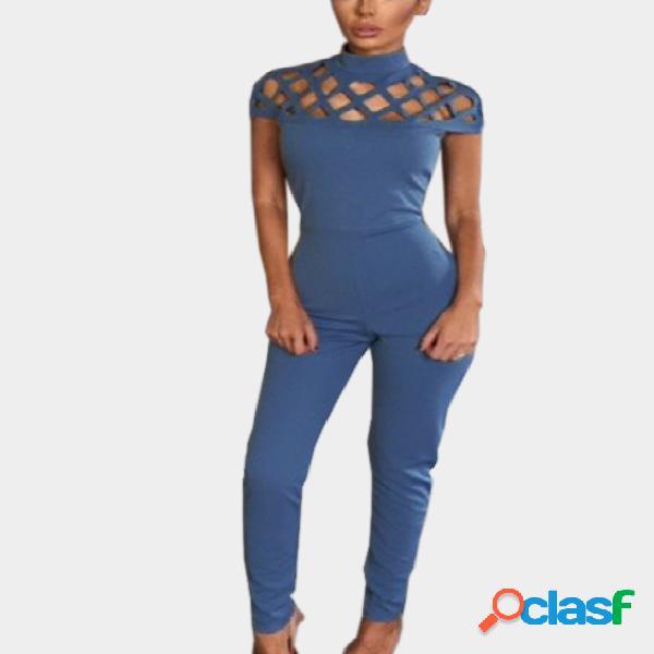 Blue casual bodycon hollow design jumpsuit
