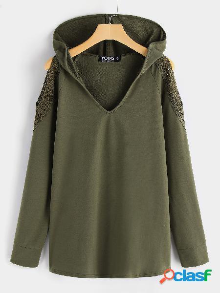 Camisola fria do ombro do decote em v do verde moletom com capuz