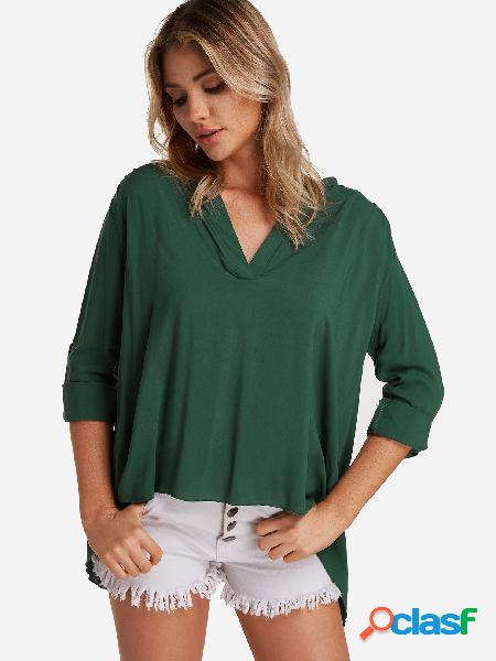 Blusa verde com decote em v com decote em v com comprimento ajustável