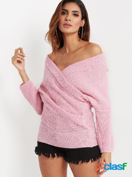 Projeto transversal cruzado rosa camisola de mangas compridas de decote em v profundo