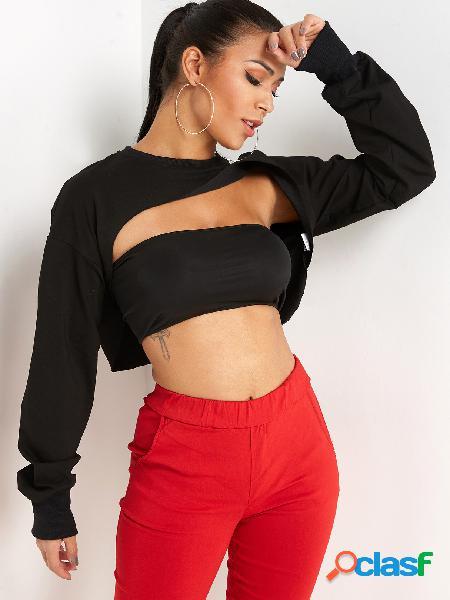 Recorte preto em torno do pescoço mangas compridas camisola da colheita