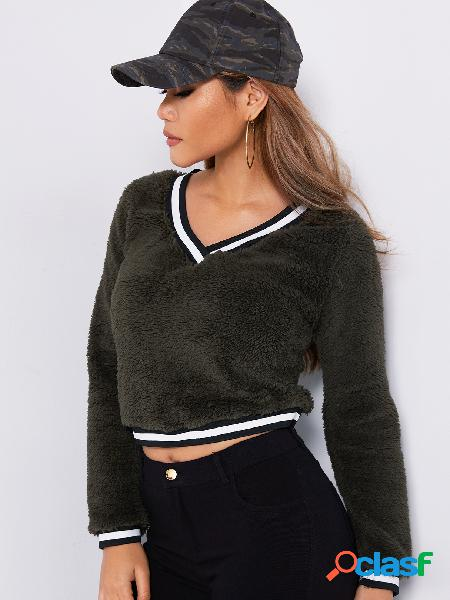 Exército verde plain v-neck mangas compridas plush sweaters