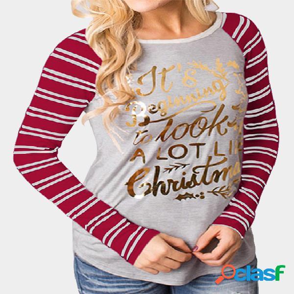 Red & gray christmas letter print round neck stripe long raglan sleeve top