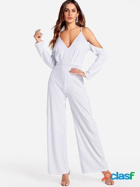 White deep v-neck cold shoulder flared sleeves high waist jumpsuit