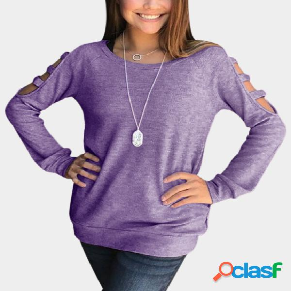 Purple ripped detalhes ronda pescoço manga comprida blusas