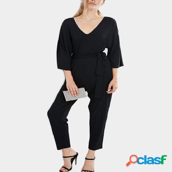 Black lace-up design deep v neck 3/4 length sleeves jumpsuit