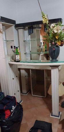 Conjunto bar pedra+mesa sala jantar vidro/pedra+6 cadeiras