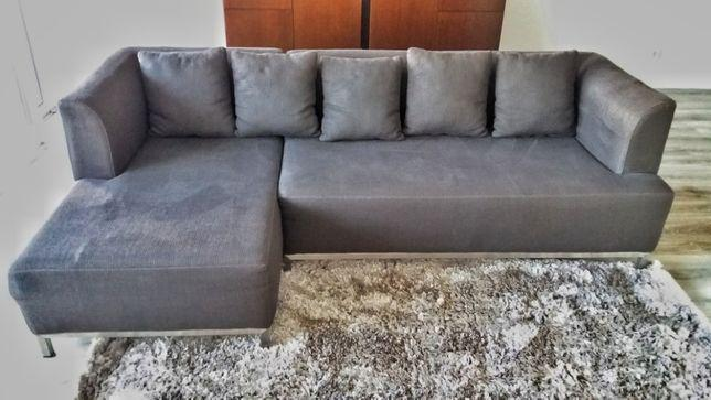 Sofá chaise longue em tecido cinzento escuro