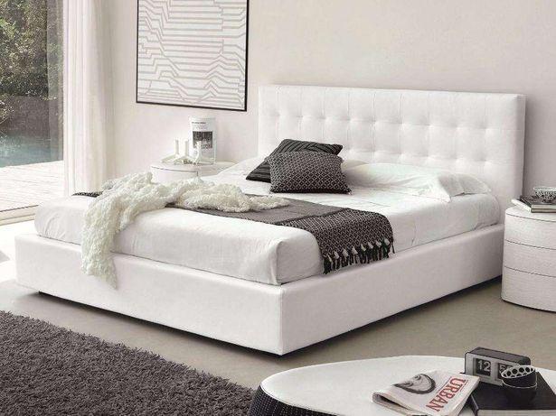 Cama branca estofada nova + estrado + colchão (fabricante)