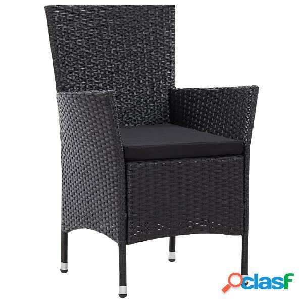 Vidaxl conjunto 2 cadeiras de jardim, vime, preto