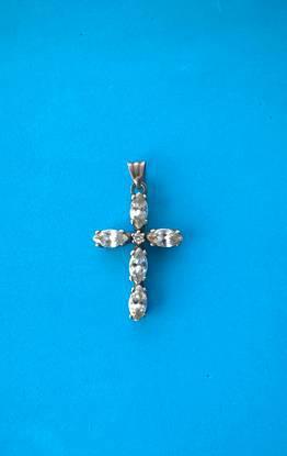 Antiga cruz em prata e brilhantes