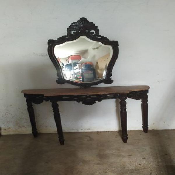Mesa credencia aparador com pedra mármore e espelho