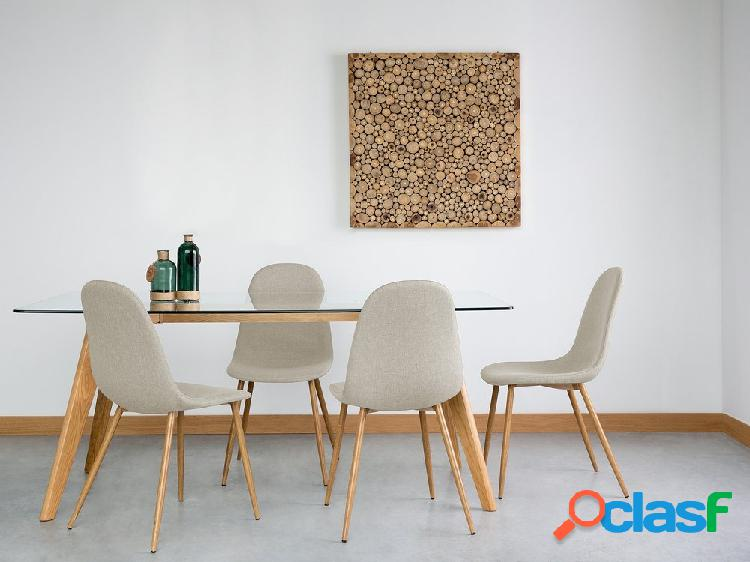 Conjunto 2 cadeiras de jantar bege - tecido - bruce