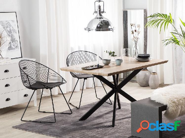 Mesa de jantar marrom claro com preto 140x80 cm spectra