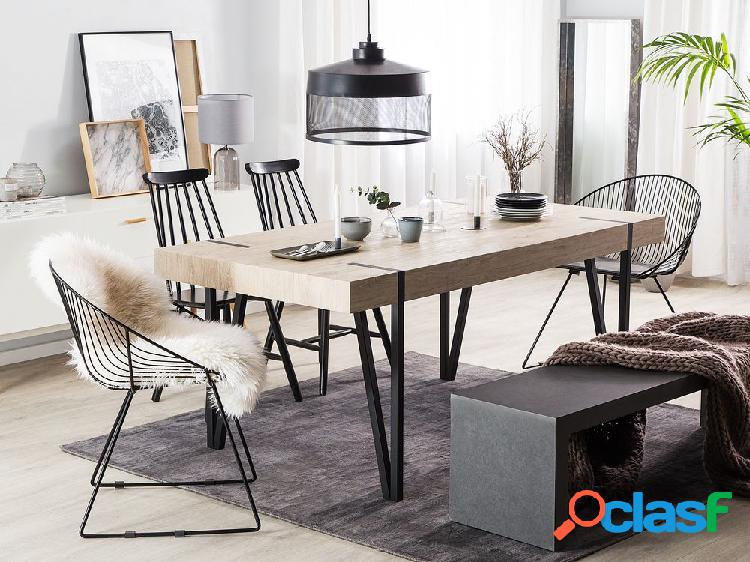 Mesa de jantar marrom claro com preto 180x90 cm adena
