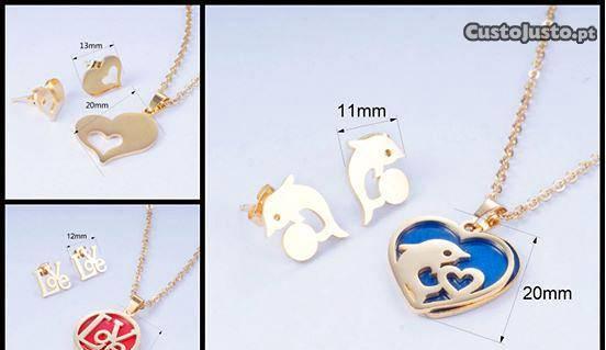 Conjunto de jóias(colar e brincos) banhado a ouro