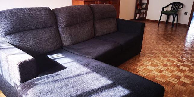 Sofà 3 lugares e chaise longue