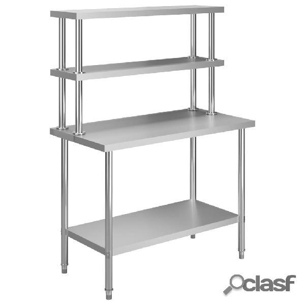 Vidaxl mesa trabalho cozinha c/ prateleira 120x60x150cm aço inoxidável