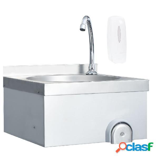 Vidaxl lavatório comercial com torneira aço inoxidável