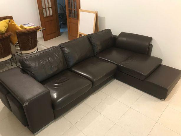 Sofá chaise longue pele castanha genuína + 2 bancos
