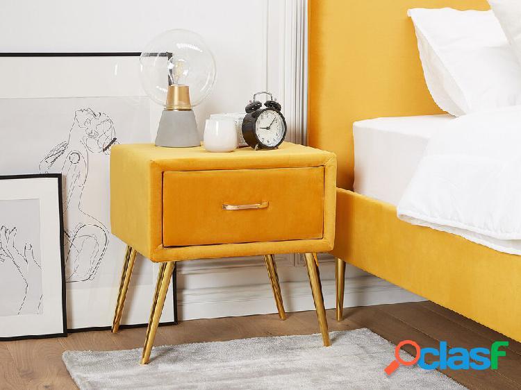 Mesa de cabeceira em veludo amarelo FLAYAT