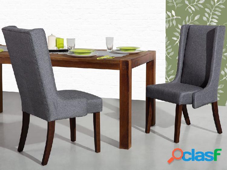 Conjunto de 2 cadeiras de jantar em tecido cinza escuro CHAMBERS