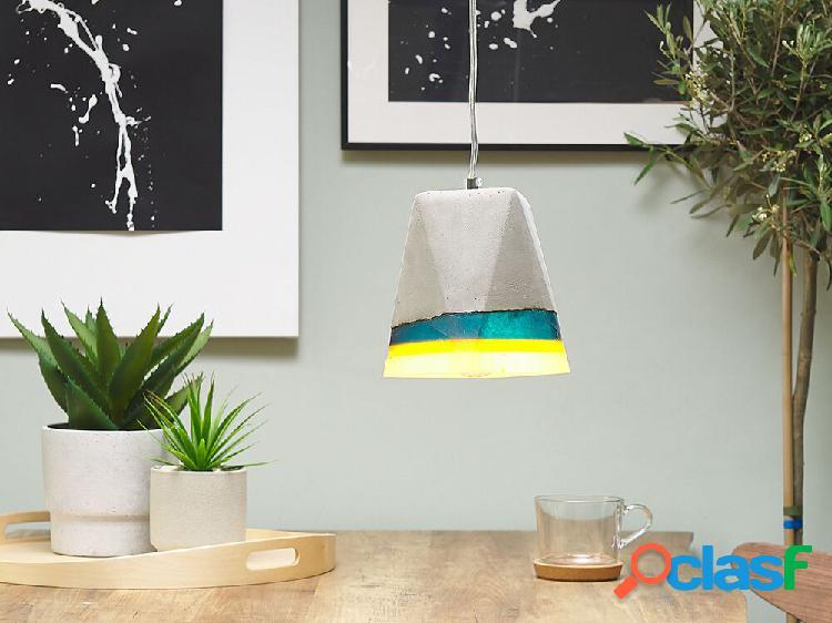 Candeeiro de tecto cinza, azul, amarelo e branco - iluminação - betão e poliresina - mabel