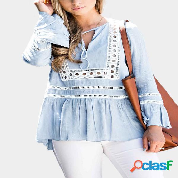 Blue hollow out desenho plissado blusas blusas