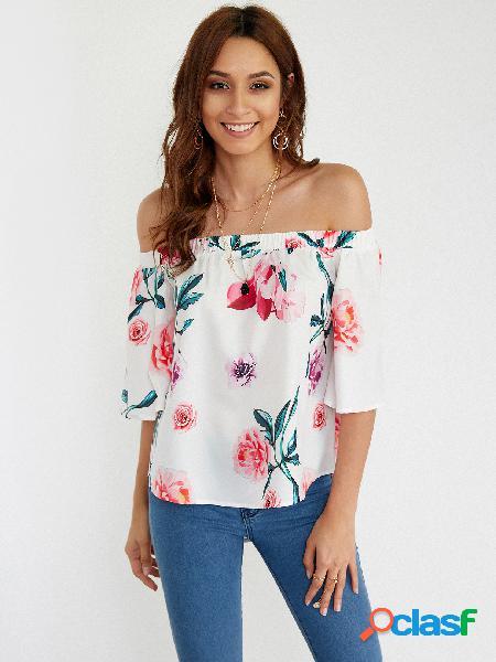 Blusa de impressão floral aleatória no ombro em branco