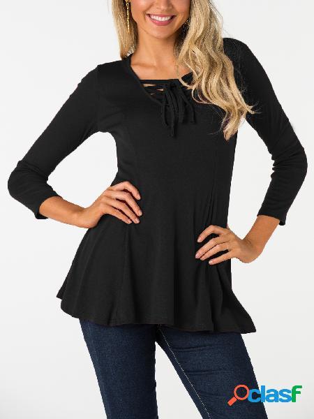 Black Lace Up Blusa de mangas compridas com decote em V simples