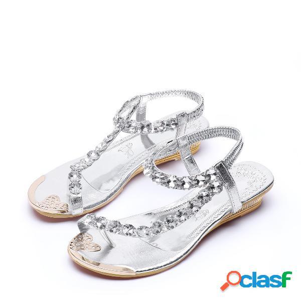 Jóia de prata embelezada sandálias de cunhas