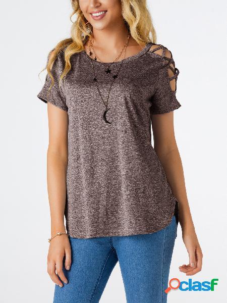 Light Coffee Hollow Design no ombro em torno do pescoço T-shirt
